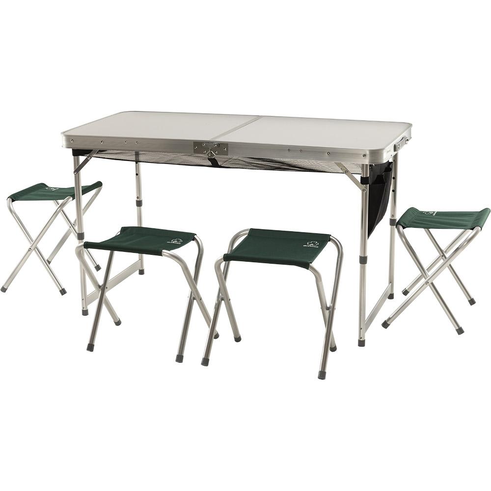 Набор мебели Greenell Ftfs-1 V2Универсальный набор складной мебели - стол и 4 табуретки. Для компактности табуретки убираются внутрь стола.<br><br>Вес кг: 8.90000000