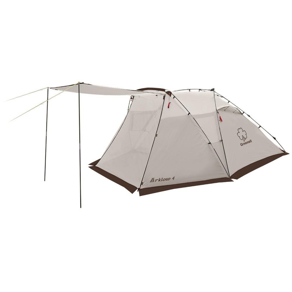 Палатка Greenell Арклоу 4Двухслойная палатка с дополнительной дугой для большого тамбура. Внутренная палатка и тент устанавливаются одновременно. Легко ставиться одним человеком.<br><br>Кемпинговая палатка с полуавтоматическим каркасом. Установка за 1 минуту. Двухслойная палатка с дополнительной дугой для большого тамбура. Внутренная палатка и тент устанавливаются одновременно. Легко ставиться одним человеком. Минимум времени для установки и сборки. Q-образный вход продублирован сеткой. Улучшенная сквозная вентиляция. Проклееные швы. Облегченная регулировка оттяжек со световозвращающей нитью. Дополнительные стальные стойки для полога. Система Антимоскит надежно защищает от комаров и мошек.<br><br>Вес кг: 5.70000000
