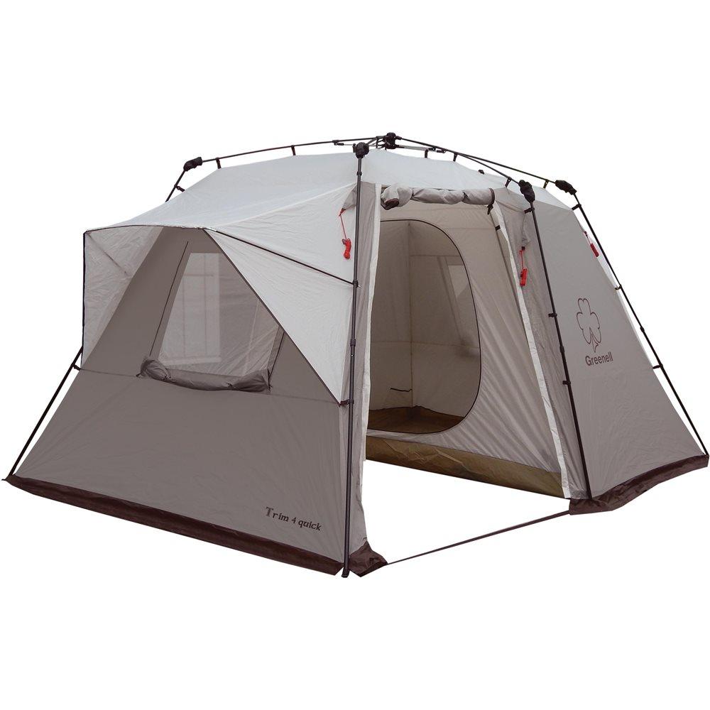 Палатка Greenell Трим 4 квикЧетырехместная палатка автомат Greenell Трим 4 квик, которую можно быстро установить. Два входа, большой тамбур. Два больших окна с сеткой для проточной вентиляции. Возможна установка тента без растяжек и внутренней палатки.<br><br>Вес кг: 13.40000000