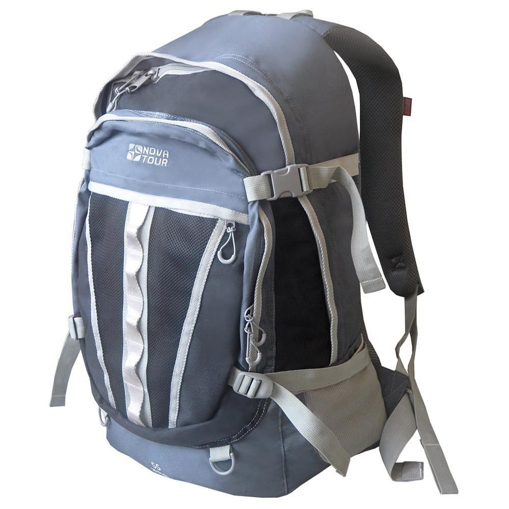 Рюкзак Nova Tour Слалом 55 v2 серый/синийГородской рюкзак большого объема Nova Tour Слалом 55 v2. Если все, что нужно ежедневно носить с собой, не помещается в обычный рюкзак, то Слалом 55 V2 специально для вас. Два вместительных отделения можно уменьшить боковыми стяжками или наоборот, если что-то не поместилось внутри, навесить снаружи на узлы крепления. Для удобства переноски тяжелого груза, на спинке предусмотрена удобная система подушек Air Mesh.<br><br>Вес кг: 1.00000000