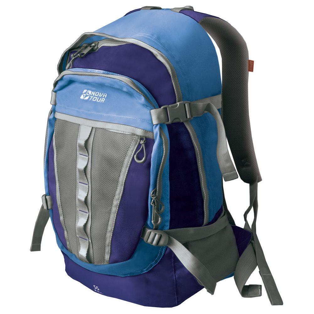 Рюкзак Nova Tour Слалом 55 v2 синий/голубойГородской рюкзак большого объема Nova Tour Слалом 55 v2. Если все, что нужно ежедневно носить с собой, не помещается в обычный рюкзак, то Слалом 55 V2 специально для вас. Два вместительных отделения можно уменьшить боковыми стяжками или наоборот, если что-то не поместилось внутри, навесить снаружи на узлы крепления. Для удобства переноски тяжелого груза, на спинке предусмотрена удобная система подушек Air Mesh.<br><br>Вес кг: 1.00000000
