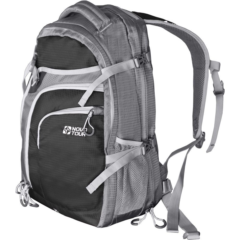 Рюкзак Nova Tour Трэвел 30+10 черный/серыйВместительный рюкзак-чемодан Nova Tour Трэвел 30+10. Рюкзак раскрывается как чемодан. Объем может быть увеличен на 10 литров. Специальная сетка надежно зафиксирует одежду. Мягкий карман для очков, множество кармашков для мелочей и боковые карманы из сетки.<br><br><br>Добавлены боковые стяжки на фастах<br><br>Внутренняя сетка теперь отстегивается, вы можете оставить ее дома, облегчив вес.<br><br>Улучшена эргономика спины,<br><br>Ручка для переноски теперь большая и удобная<br><br>Нет органайзера<br><br>Вес кг: 1.00000000