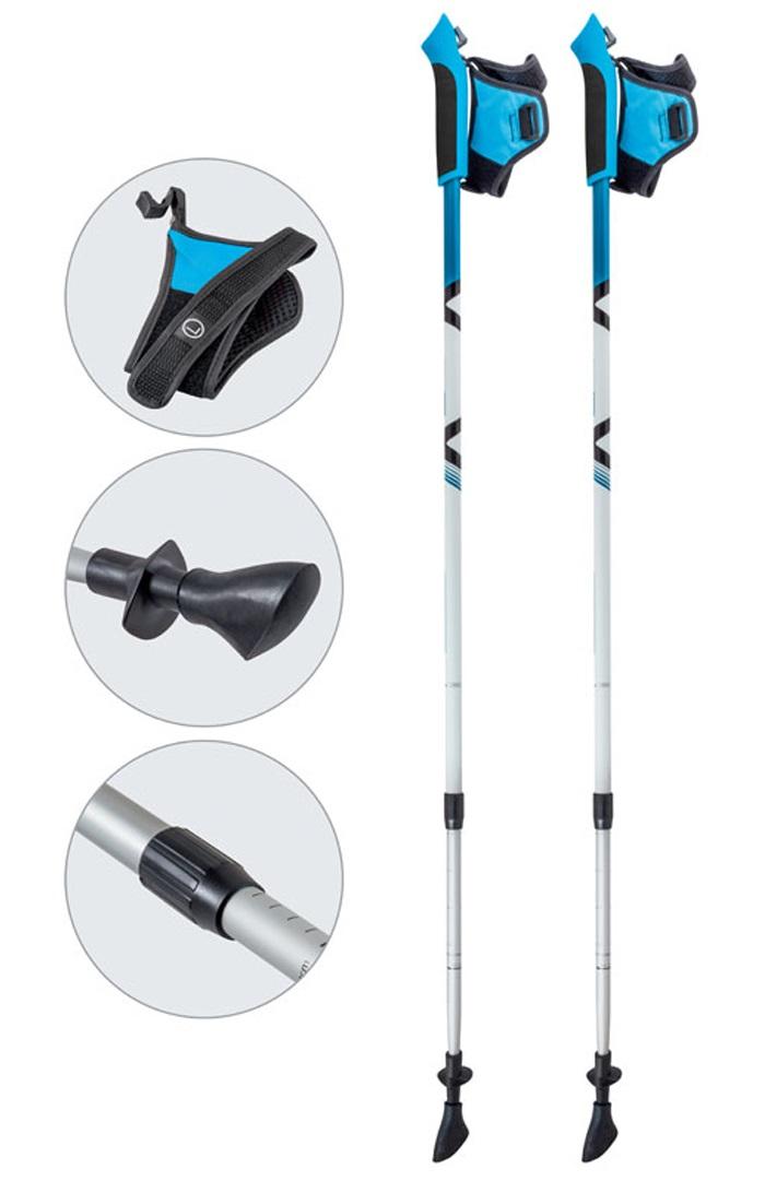 Палки Ecos AQD-B020 телескопические для скандинавской ходьбыЛегкие и прочные универсальные палки для скандинавской ходьбы. Тип палки: телескопическая (внутренняя система замков). Регулировка палки: под рост человека от 135 см до 200 см<br>