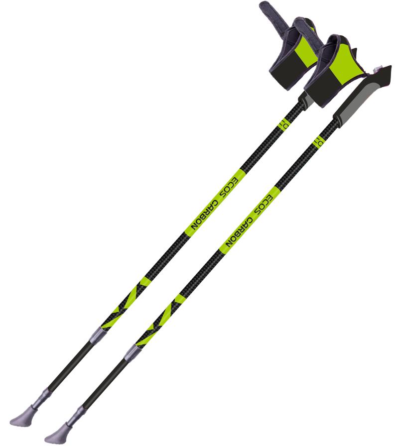 Палки Ecos AQD-B018A телескопические для скандинавской ходьбы карбонЛегкие и прочные универсальные палки для скандинавской ходьбы. Тип палки: телескопическая (внутренняя система замков).<br>