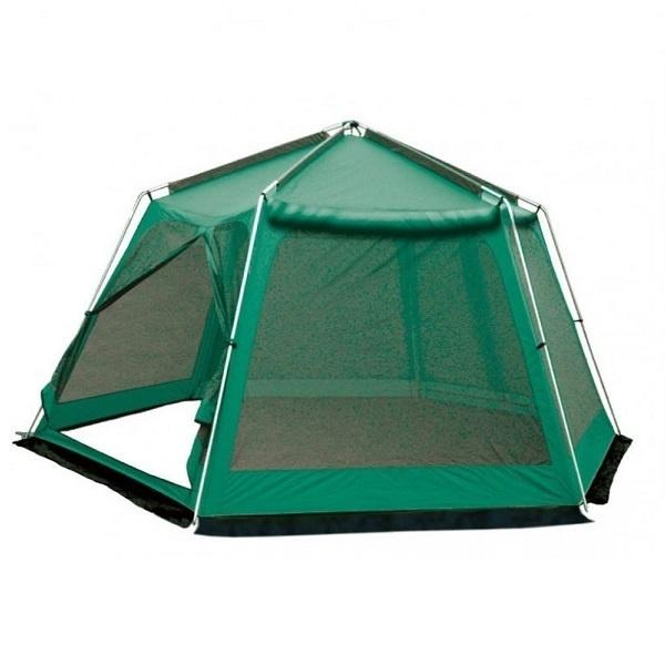 Тент-шатер Sol Mosquito GreenБольшие размеры шатра позволяют использовать его как для различных хозяйственных нужд, так и на отдыхе. Можно разместить что угодно - набор кемпинговой мебели для дружеских посиделок, склад вещей, оборудовать беседку, а в крайнем случае и дополнительные спальные места.<br><br>Стены тента выполнены из антимоскитной сетки c убирающейся защитой от дождя на молнии, шатёр имеет многогранную форму. Оборудован двумя входами и ветрозащитной юбкой. Шатер отлично подходит для отдыха на открытом воздухе в летнее время, спасает от легкой непогоды, солнца и насекомых. Специальная пропитка, задерживающая распространение огня - залог безопасного соседства с костром. При всей простоте конструкции, шатер имеет прочный стальной каркас, удобная сумка для переноски с крепкими ручками защитит её от повреждений, пыли и грязи во время перевозки или хранения.<br><br>Вес кг: 10.00000000
