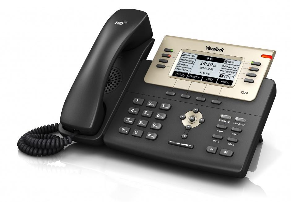 IP-телефон Yealink SIP-T27GYealink SIP-T27G — это многофункциональный SIP-телефон для бизнеса. Обладая превосходным качеством звука стандарта Optima HD, SIP-T27G предлагает весь спектр пользовательских опций. Расположение программируемых кнопок на аппарате устроено подобно более старшей модели Yealink SIP-T29G – по четыре с каждой стороны от дисплея. При этом одна из клавиш используется для перелистывания страниц экранного меню, что в сумме позволяет задать для них до 21 программируемого значения, которые отображаются непосредственно на экране телефона, избавляя пользователей от бумажного носителя на корпусе аппарата. Наличие EXT-порта, позволяющего подключить до 6 модулей расширения или использовать электронный микролифт Yealink EHS36 для беспроводных гарнитур, делает Yealink SIP-T27G незаменимым помощником как в работе секретаря, так и в работе менеджера.<br><br>Благодаря обновлению программного обеспечения и аппаратной части в устройстве появились следующие новые функции по сравнению с моделью Yealink SIP-T27P:<br><br><br>гигабитные интерфейсы;<br><br>наличие USB-порта для подключения модулей BT40 и WF40;<br><br>поддержка кодека OPUS.<br><br>Вес кг: 1.40000000