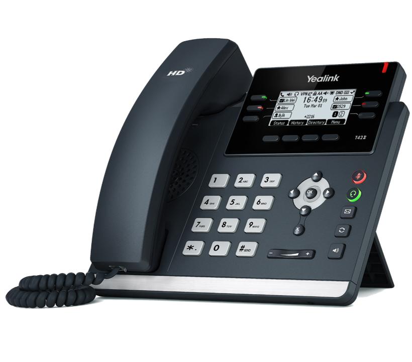 IP-телефон Yealink SIP-T42SYealink SIP-T42S Wi-Fi - IP-телефон с поддержкой Wi-Fi, 12 VoIP аккаунтов, HD voice, PoE<br><br>Yealink SIP-T42S Wi-Fi - один из представителей новой линейки корпоративных SIP-телефонов компании Yealink. Новая модель отличается ультраэлегантным бизнес-дизайном, оснащена комплексом необходимых функций и продвинутыми техническими характеристиками. На задней стороне телефона предусмотрен специальный разъем EHS для подключения Yealink EHS36. Этот адаптер предназначен для подключения к телефону беспроводных гарнитур Jabra, Plantronics и Sennheiser. Благодаря же реализации нескольких страниц экранного меню, значения программируемых кнопок подписываются непосредственно на экране телефона, избавляя пользователей от бумажек на корпусе телефона, которые необходимо заполнять вручную.<br>