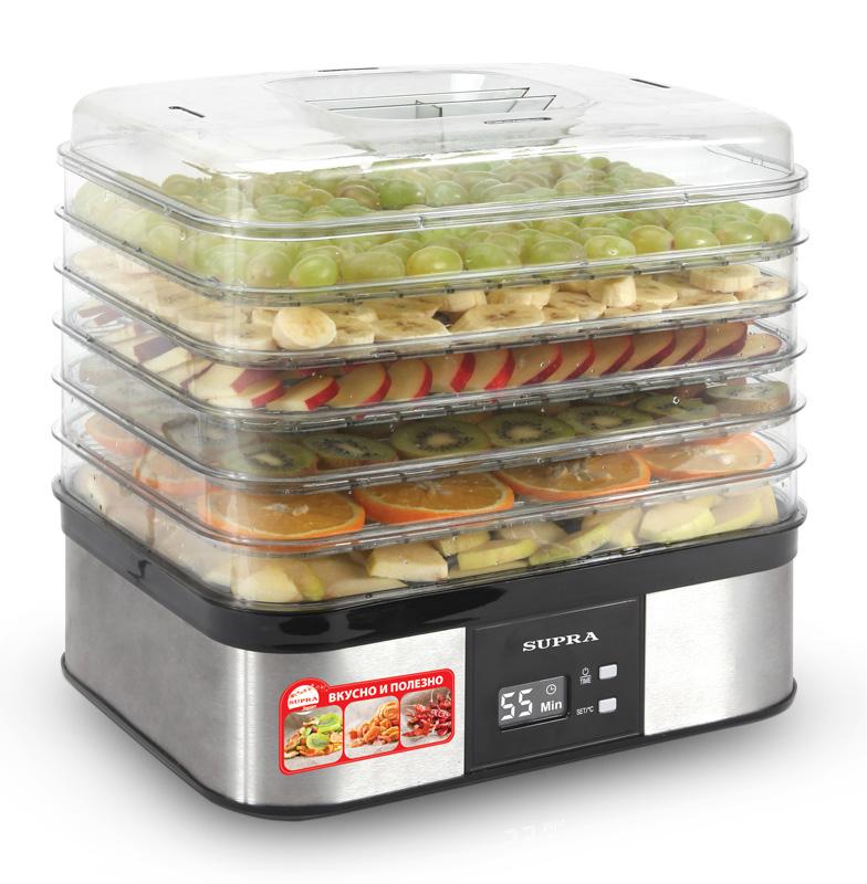 Сушилка для фруктов Supra DFS-631Вспоминайте, как обычно происходит процесс сушения грибов, фруктов, ягод на зиму? Застеленные подоконники, завешанные нитками окна, коридоры, чердаки и гаражи. А теперь представьте, что процесс сушки можно упростить и ускорить в сотни раз! Берете электронный прибор, укладываете в его секции продукты, выставляете таймер и получаете сушеные грибы, яблоки и т.п. за какие-то часы.<br><br>Вот для чего нужна электронная сушилка. Но техника иссушения тоже бывает разной. SUPRA DFS-631 – вещь самая передовая и прогрессивная. Обратите внимание на увеличенный объем камеры, разделенной к тому же на шесть секций (в стандартных сушилках обычно не больше пяти), в которых можно одновременно сушить разные продукты в огромном количестве. Солидный корпус из нержавейки обеспечит сушилке долгую и здоровую жизнь. А прямоугольная форма сделает ее удобней в хранении. Похвалим также электронное управление с индикацией на LCD-дисплее. Но самое любопытное – это …инструкция. Впервые на рынке электронных сушилок в инструкции к прибору даются исчерпывающие рекомендации-рецепты по сушке продуктов и даже публикуется экскурс в историю сушения и вяления. Читайте, внимайте и сушите на здоровье!<br><br>Вес кг: 3.60000000