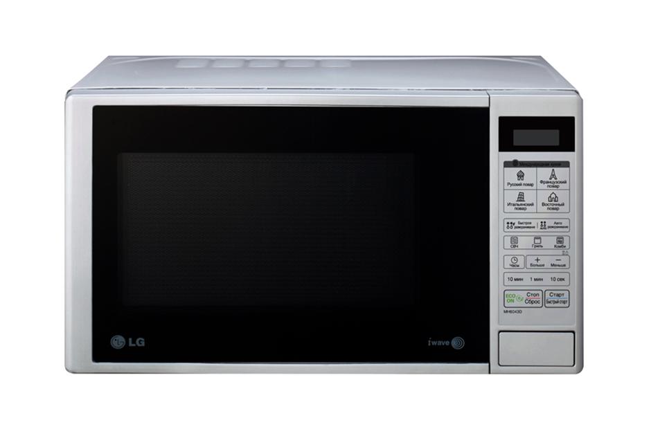 Микроволновая печь с грилем LG MH6043DМикроволновая печь LG MH6043D с грилем, 20 литров.<br><br><br>Легкоочищаемое внутреннее покрытие EasyClean<br><br>Быстрое и равномерное приготовление с технологией i-Wave<br><br>Автопрограммы «Кухни мира» с рецептами итальянских, французских, восточных и русских блюд<br><br>Экономия электроэнергии с функцией ECO ON<br><br>Кварцевый гриль<br><br>Вес кг: 12.00000000