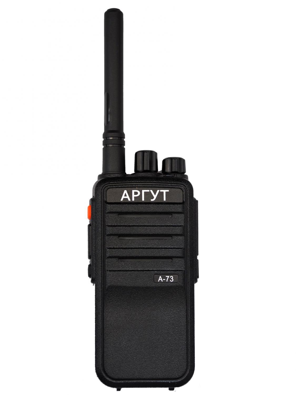 Аргут А-73 DMR, TDMA, 400-480MHzАргут А-73 - цифро-аналоговая носимая радиостанция стандарта DMR(Tier 2) Как и все модели радиостанции Аргут выполнена из противоударного АВС-РС пластика на металлическом шасси, что позволяет эксплуатировать радиостанцию в самых «жестких» условиях. Радиостанция имеет стандартный аксессуарный разъем KPG-22 (совместим с радиостанциями Kenwood). Такая совместимость обеспечивает возможность выбора большого количества различных аксессуаров. Радиостанция имеет класс защиты IP-54. В цифровом режиме работы обеспечивается совместимость радио-интерфейса с оборудованием таких производителей как Motorola и Hytera, работающих в стандарте DMR.<br><br><br>возможность работы в аналоговом, цифровом (DMR)<br><br>32 программируемых частотных канала в диапазоне от 400 МГц до 480 МГц; 136-174 МГц<br><br>использование технологии TDMA (позволяет организовать две независимые разговорные группы на одном физическом канале шириной полосы частот 12,5 кГц<br><br>2 программируемые функциональные кнопки<br><br>светодиодный индикатор статуса работы<br><br>индивидуальный и групповой вызов<br><br>сканирование и приоритетное сканирование<br><br>поддержка различных видов сигналинга: DTMF, CTCSS, DCS<br><br>функция Talk Around (при включении этой функции передача осуществляется на частоте приема)<br><br>функция «Одинокий работник» (пользователь может отмечаться у диспетчера, нажимая кнопку РТТ через заданные интервалы времени. Если пользователь не нажмет кнопку РТТ в заданный момент времени, то радиостанция перейдет в режим «экстренной связи» и передаст сигнал тревоги, чтобы сообщить о том, что нужна помощь)<br><br>русскоязычная озвучка каналов<br><br>Вес кг: 0.30000000