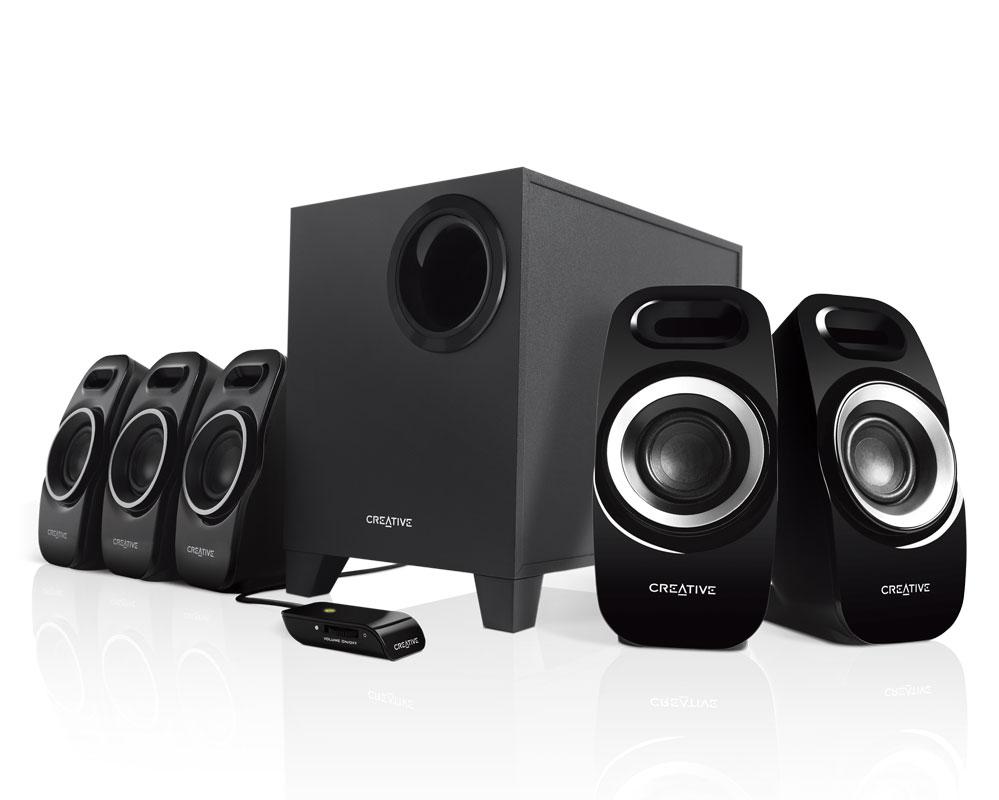 Компьютерная акустика Creative Inspire T6300 5.1 черный,57ВтCreative Inspire T6300, самая громкая на сегодняшний день система из серии Inspire, выводит объемное звучание 5.1 фильмов, игр и музыки на новый уровень за счет улучшенного звучания средних и низких частот и удивительно точной акустической визуализации во всем диапазоне. Помимо мощного канального сабвуфера с направленным вниз динамиком, колонки-сателлиты системы имеют корпус конструкции Creative DSE (Dual Slot Enclosure), позволяющей им более громко и четко воспроизводить средние и низкие частоты. Каждая колонка-сателлит оснащена пластиной Creative IFP (Image Focusing Plate) для обеспечения точной акустической направленности и образности звука. Уникальная конструкция дискретной системы T6300 содержит крупные передние и меньшие задние и центральную колонки-сателлиты. Окружите себя лучшим в классе звучанием с помощью системы Inspire T6300!<br><br><br>Корпус с двумя отверстиями Creative DSE (Dual Slot Enclosure) представляет собой компактный корпус с высокофункциональной трубкой-резонатором. Такая конструкция значительно улучшает частотное распределение всей системы, обеспечивая увеличенную громкость воспроизведения и повышенное качество звучания средних и низких частот.<br><br>Улучшенная пластина Creative IFP (Image Focusing Plate) создает расширение вокруг колонок-сателлитов, улучшая акустическую направленность и визуализацию, благодаря чему увеличивается зона наилучшего акустического восприятия и обеспечивается фокусировка звука, но сохраняется точность воспроизведения тонов.<br><br>Крупные передние колонки-сателлиты производят сильное впечатление, а позиционные задние и центральная колонки-сателлиты меньшего размера обеспечивают возможность дискретного размещения системы.<br><br>Мощный канальный сабвуфер с направленным вниз динамиком и регулятором уровня басов.<br><br>Встроенный проводной пульт ДУ с выключателем системы и регулятором громкости для удобства.<br><br>Вес кг: 5.00000000