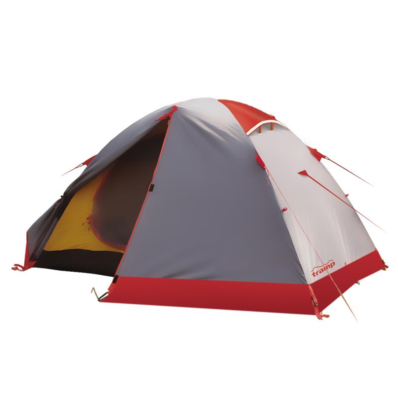 Палатка Tramp PEAK 2 экстремальнаяTramp Peak 2 - дуговая палатка торговой марки «Tramp», состоящая из спального отсека и наружного тента (материал полиэстер). При этом, способ обработки ткани последнего значительно повысил его стойкость к ультрафиолету, перепадам температур, воздействию воды в различных состояниях и даже огню. Дополнительную защиту от непогоды обеспечивает юбка и термоусадочная лента, которой проклеены все швы. Используемые материалы и конструкция палатки делают ее пригодной для использования при сложных погодных условиях и в длительных экспедициях.<br><br>Палатка рассчитана на 2 человек и имеет 2 входа с тамбурами «падающей» конструкции. Здесь можно оставить обувь на ночь или разместить часть снаряжения. Для мелких предметов, которые всегда удобно иметь под рукой, можно воспользоваться карманами и подвесной полкой, расположенными внутри спального отделения.<br><br>Каркас палатки выполнен из складных алюминиевых дуг, чей материал обеспечивает прочность конструкции, устойчивость элементов к деформации и их небольшой общий вес чуть больше 3,5 кг.<br><br>Изделие быстро устанавливается и фиксируется на земле при помощи закрепленных на тенте оттяжек и входящих в комплект колышков. К палатке прилагается инструкция, где подробно описаны механизм установки, разборки и другая полезная информация.<br><br>Комплектность: внешний тент, внутренняя палатка, комплект дуг, комплект колышков, сетчатая полка, ремкомплект, сумка-переноска, гарантия, инструкция по применению.<br><br>Вес кг: 3.60000000