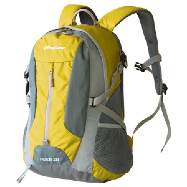 Рюкзак KingCamp Peach 28 yellowСовременный рюкзак для кемпинга и радиальных выходов<br><br>Хорошо продуманный рюкзачок для коротких выходов на день-два, или для кемпинга. Вместительный: 28 л, в то же время удобный и компактный, KingCamp Peach 28 KB3306 легко решает все задачи, которые предъявляют сегодня к снаряжение. Широкие возможности регулировки ширины ремней, лямок и объема и конфигурации позволяют легко адаптировать его под любой рост и комплекцию. Особенности: водонепронецаемые материалы, специальные кармашки для гаджетов, в том числе для плеера, ремни регулируются на груди, по бокам кармашки из сетки, регулируется по ширине ремнями<br><br>Вес кг: 0.90000000