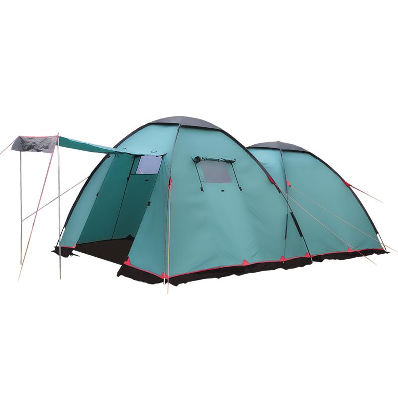 Палатка Tramp Sphinx кемпинговаяTramp Sphinx - двухслойная кемпинговая палатка от «Tramp», представляющая собой 2 объединенных полусферы разной высоты. В той, что поменьше (радиус - 1,6 м) располагается спальное отделение на 4 человек, а большей (радиус – 1,9 м) – тамбур с одним входом и 2 квадратными окнами, через которые будет проникать сет и воздух. при необходимости их можно закрыть расположенными снаружи полотнами. В палатку можно попасть не только через тамбур. Сзади также расположен вход, сразу ведущий в спальное отделение. Все проемы, включая те, что в тамбуре, для защиты от насекомых и заносимого ветром мусора закрыты сеткой.<br><br>Внутренняя палатка, выполняющая роль спального отсека, сделана из полиэстера (купол) и термпаулинга (дно). Из последнего материала изготовлен и съемный пол тамбура, за счет которого он может использоваться как полноценная «комната». В солнечную погоду, чтобы обеспечить больше тени, над передним входом моно сделать козырек из закрывающего его полотна и входящих в комплект прямых стоек (сталь). Остальные элементы каркаса - складные дуги, сделаны из прочного дюрапола.<br><br>Благодаря проклейке швов и наличию защитной юбки, ветер и дождь не проникнут внутрь и через эти участки. «Sphinx» - отличный выбор для автомобильых походов и использования на кемпинговых стоянках. Палатка устанавливается почти также легко, как и меньшие аналоги. Помощь необходима только из-за размеров тента и дуг – самостоятельно поднимать конструкцию довольно сложно.<br><br>Вес кг: 13.10000000