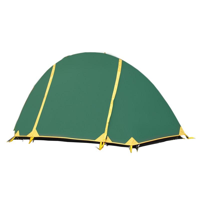Палатка Tramp BICYCLE LIGHT трекинговаяЛегкоходная палатка Tramp Bicycle Light пользуется заслуженной популярностью среди любителей пеших походов. Легкая, компактная, максимально простая, устойчивая к сильному дождю. Быстро устанавливается даже в местах, недоступных для других моделей. Большие вентиляционные окна и два слоя обеспечивают вентиляцию, недоступную однослойным палаткам, при этом вес остается минимальным. Внутренняя палатка на одной дуге, сверху растягивается тент. Палатка крепится колышками, возможна установка без растяжек.<br><br>Конструкция - однодуговая, с двумя входами, легкая в установке в самых сложных местах и неприхотливая в эксплуатации. В палатку комфортно помещается один человек, рюкзак, обувь. При необходимости может вместить двоих.<br><br>Тент – водонепроницаемый, устойчивый к растяжению. Обработан составом для поглощения UF лучей и пропиткой, предотвращающей распространение огня. Оборудован растяжками с вплетением светоотражающей нити и проклеенными швами.<br><br>Внутренняя палатка – 100% дышащий полиэстер, два больших вентиляционных окна. Из приятных мелочей - удобные, вместительные карманы, подвесная полка под потолком и крепление для фонарика. Входы D-образные, на качественных двухзамковых молниях с возможностью открывания в одно касание даже с занятыми руками. Оба входа продублированы москитной сеткой.<br><br>Дно – полиэстер с высоким показателем водонепроницаемости, загибается по краям вверх для большей влагоустойчивости. По отзывам, переносит не только высокую влажность, но и снег.<br><br>Каркас – одна дюраполовая дуга (фибергласс, армированный для прочности проволокой). Максимально простая конструкция.<br><br>Комплект – тент, внутренняя палатка, подвесная полка, дуга, комплект колышков, сумка-переноска с ручками, ремнабор.<br><br>Вес кг: 2.00000000