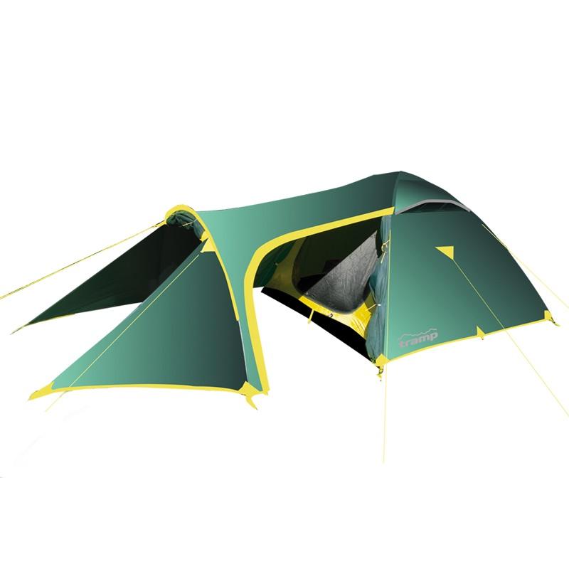 Палатка Tramp GROT трекинговаяПалатка Grot-B - просторная трехместная двухслойная палатка, которая станет идеальным выбором для велопохода. Под ее крышей смогут разместиться не только путешественники, но и их транспорт. Для последнего отводится просторный передний тамбур с двумя широкими входами (передний и боковой). Как и у спальной зоны его высота – 1,3 м. Благодаря конструкции она сохраняется почти по всей длине тамбура. Полотно переднего входа с помощью 2 металлических стоек превращается в длинный козырек, обеспечивающий дополнительную тень. Сзади в модели также предусмотрен небольшой тамбур.<br><br>Материал, из которого изготовлен тент палатки, отличается высокой прочностью, плотностью и износостойкостью. Специальная пропитка также позволяет ему некоторое время удерживать огонь. На всех швах имеется защита в виде ленты. Чтобы покрытие тента не повредилось, производитель категорически не рекомендует стирать его в машинке или сдавать в химчистку.<br><br>Доступ воздуха внутрь, когда входы тамбуров закрыты, обеспечивают вентиляционные клапаны. В данной модели их прикрывают фиксируемые оттяжками полотна. В хорошую погоду тамбуры можно полностью открыть. Полотно бокового входа, чтобы не мешало передвижению, закрепляют на палатке.<br><br>Вес кг: 5.30000000