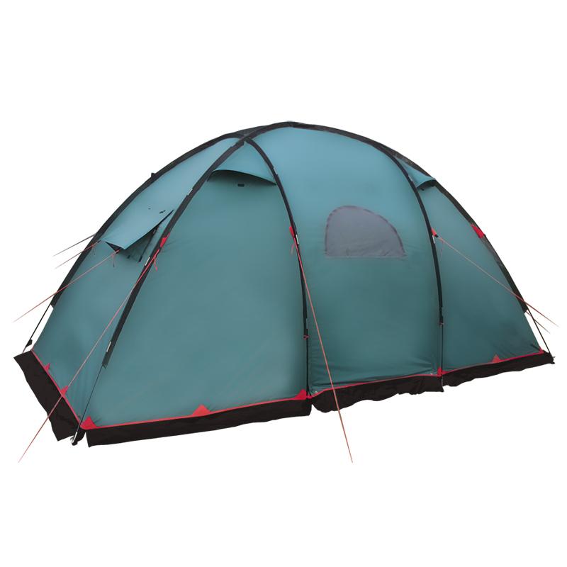 Палатка Tramp EAGLE кемпинговаяTramp Eagle - четырехместная двухслойная палатка с 2 спальными отделениями, разделенными сквозным тамбуром. Модель обеспечит максимальный комфорт отдыха в кемпинге. Как и в других подобных палатках, передвигаться по тамбуру можно в полный рост – высота спальных отделений достигает 1,8 м, а тамбура – 2,1 м. Кроме того, к нему, прилагается дно (съемное) из армированного полиэтилена.<br><br>Для лучшей защиты от ветра и дождя по низу тента расположена юбка, а все швы проклеены. Материал наружной палатки, как и в большей части продуктов «Tramp», для большей огнестойкости имеет специальную пропитку и может длительное время находиться на солнце без ущерба для ткани.<br><br>Все входы (внутренней палатки и тамбура) продублированы москитной сеткой. На стенках тента, напротив каждого спального отсека, расположены вентиляционные проемы, конструкция которых пропускает внутрь воздух, но не осадки. Окна есть и на входах в тамбур, обеспечивая доступ света внутрь, даже если они закрыты.<br><br>Eagle станет не только прекрасной защитой от непогоды, но и источником тени в ясный день. Чтобы ее было больше, одно из полотен входа в тамбур можно превратить в козырек. Это делается с помощью приложенных высоких стальных стоек. Остальные детали каркаса сделаны из стеклопластика, усиленного металлической сеткой.<br><br>В сумме детали палатки весят около 14 кг и упаковываются в сумку для хранения и транспортировки. К ней прилагается и руководство пользователя с описанием установки, разборки и ухода за изделием.<br><br>Вес кг: 13.90000000
