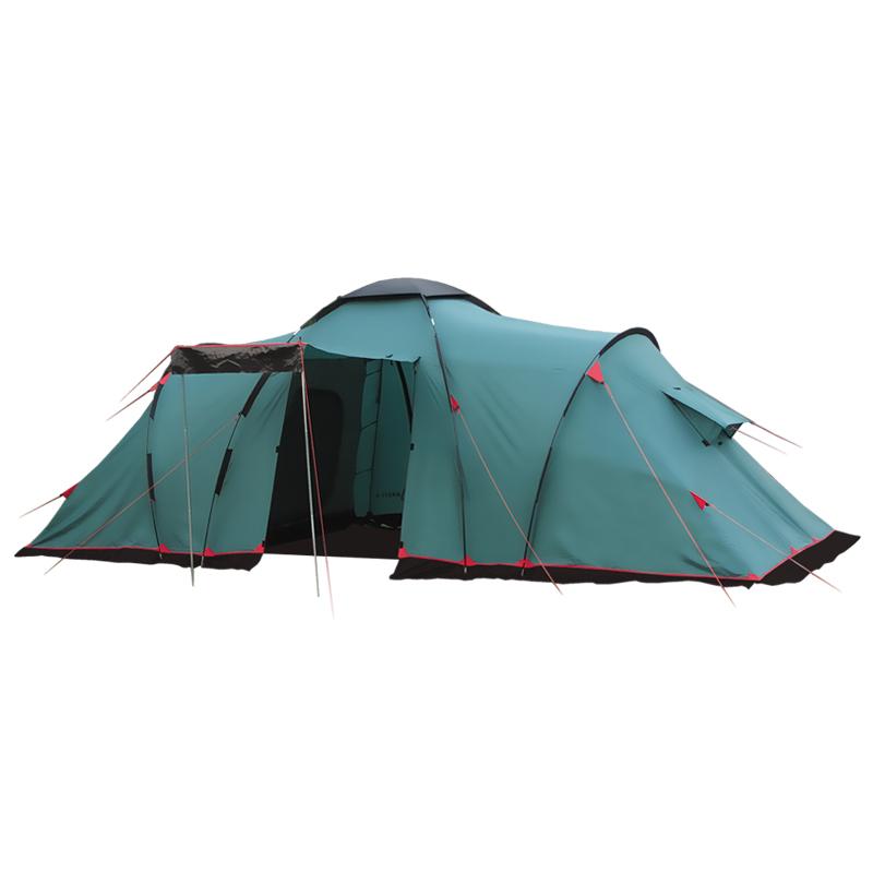 Палатка Tramp BREST 6 кемпинговаяКемпинговая палатка Tramp BREST 6. В каждом из двух спальных отделений палатки с комфортом размещается по три человека. Все мелочи найдут свои места в карманах, которые есть как на стенках внутренних палаток, так и под потолком. Крючок под куполом послужит креплением для фонарика. Входы в обе комнаты из тамбура продублированы антимоскитной сеткой, а D-образная конструкция дверей и специальные молнии One-Touch позволят довольно легко открыть их даже с занятыми руками. Качественное проветривание обеспечивают легкий дышащий материал, из которого выполнены внутренние отделения и большие вентиляционные окна. Пол спальных отделений выполнен из армированного полиэтилена (терпаулинга) и устойчив к истиранию.<br><br>Тент палатки влагостойкий, с вентиляцией и окнами, обработан специальным составом, поглощающим ультрафиолетовые лучи, благодаря чему палатка практически не нагревается под палящим солнцем. Окна тента, в зависимости от погодных условий, можно открывать целиком, частично, или вовсе плотно закрыть в непогоду. Специальная пропитка, задерживающая распространение огня - залог безопасного соседства с костром. По нижней кромке тента пришита «юбка», которая препятствует попаданию воды и сквозняка к спальному отделению. Для надежной влагоустойчивости все швы тента и остальных частей палатки проклеены термоусадочной лентой. Регулируемая длина оттяжек и вплетение из световозвращающей нити - это залог устойчивости палатки на земле, а вас в темноте на ногах. Крепятся к земле при помощи крепких металлических колышек.<br><br>В высоком тамбуре Вы свободно разместите склад вещей, а в крайнем случае и дополнительные спальные места. Наличие москитной сетки на двух входах в тамбур поможет избежать нежелательных гостей. Открывая, двери тамбура можно преобразовать в козырек на опорах, либо свернуть трубочкой и закрепить на тенте. При желании, помещение тамбура можно застелить съемным полом из терпаулинга.<br><br>Особенность сборки этой палатки в констру