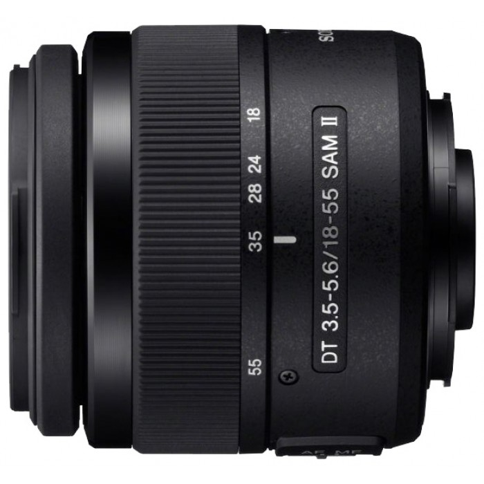 Объектив Sony DT 18-55mm f/3.5-5.6 SAM II (SAL-1855-3)стандартный Zoom-объектив<br><br>крепление Minolta A<br><br>для неполнокадровых фотоаппаратов<br><br>автоматическая фокусировка<br><br>минимальное расстояние фокусировки 0.25 м<br><br>размеры (DхL): 69.5x69 мм<br><br>вес: 210 г<br><br>Вес кг: 0.30000000