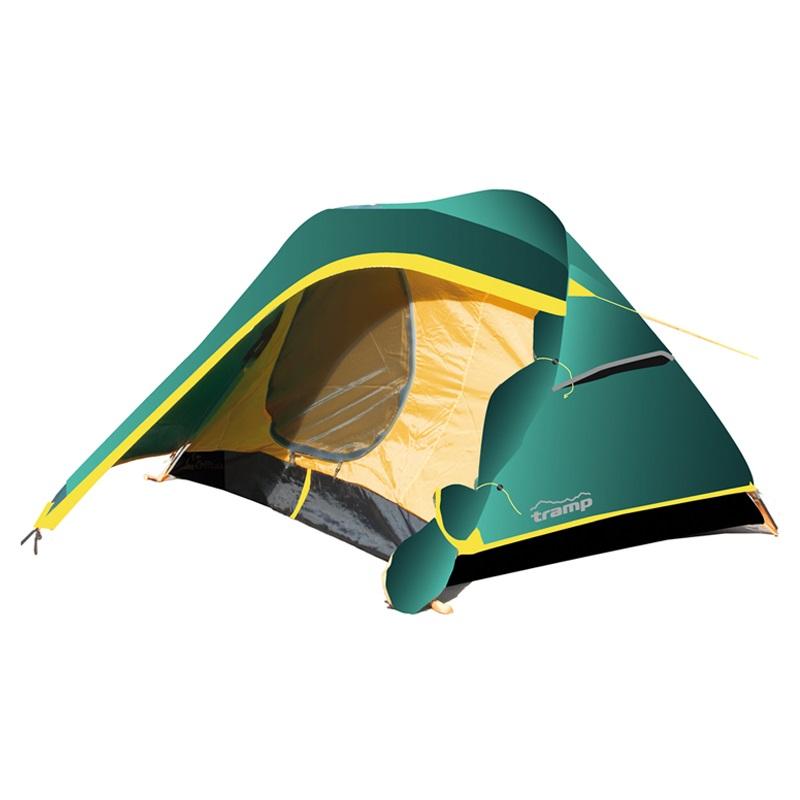 """Палатка Tramp COLIBRI трекинговаяВ своей линейке, туристическая палатка Tramp Colibri 2 обладает небольшим весом и увеличеным в объеме вместительным тамбуром, плюс еще один тамбур с другой стороны. Особенности сборки - двойное перекрещивание каркаса. Дуги вставляются в люверсы с одной стороны палатки, затем перкрещиваются. Внутренняя палатка подвязывается в местах перекрещивания, затем подцепляется при помощи системы клипс. Тент растягивается при помощи колышков, возможна установка без растяжек.<br><br>Конструкция - обтекаемая """"полусфера"""", легкая в установке на любой местности и неприхотливая в эксплуатации. Два входа, оборудованных тамбурами. Вмещает два человека.<br><br>Тент – водонепроницаемый, устойчивый к растяжению, с двумя складными вентиляционными окнами. Обработан составом для поглощения UF лучей и пропиткой, предотвращающей распространение огня. Оборудован растяжками с вплетением светоотражающей нити и проклеенными швами.<br><br>Внутренняя палатка – 100% дышащий полиэстер, два больших вентиляционных окна. Из приятных мелочей - удобные, вместительные карманы, подвесная полка под потолком и крепление для фонарика. Входы D-образные, на качественных двухзамковых молниях с возможностью открывания в одно касание даже с занятыми руками. Оба входа продублированы москитной сеткой.<br><br>Дно – полиэстер с высоким показателем водонепроницаемости, загибается по краям вверх для большей влагоустойчивости.<br><br>Каркас – дюрапол (фибергласс, армированный для прочности проволокой). Несложная конструкция с двойным перекрещиванием дуг.<br><br>Вес кг: 2.96000000"""