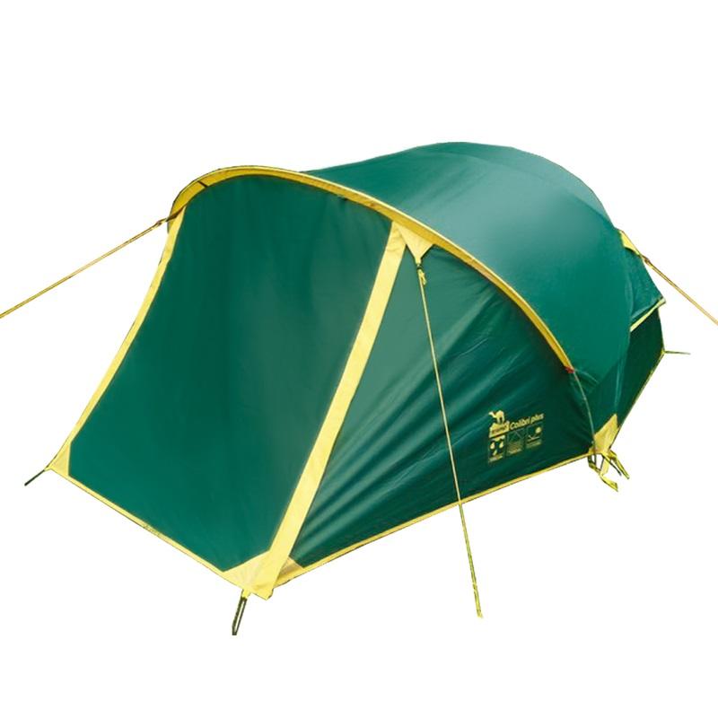 """Палатка Tramp COLIBRI PLUS трекинговаяВ своей линейке туристическая палатка Tramp Colibri plus 2 обладает небольшим весом и довольно вместительным тамбуром на двух молниях, плюс еще один небольшой тамбур с другой стороны. Особенности сборки - двойное перекрещивание каркаса. Дуги вставляются в люверсы с одной стороны палатки, затем перкрещиваются. Внутренняя палатка подвязывается в местах перекрещивания, затем подцепляется при помощи системы клипс. Перед растяжкой тента вставляется дополнительная наружная дуга над тамбуром. Возможна установка без растяжек.<br><br>Конструкция - обтекаемая """"полусфера"""", легкая в установке на любой местности и неприхотливая в эксплуатации. Два входа, один из которых оборудован вместительным тамбуром на внешней дуге. С комфортом вмещает два человека, но, при необходимости, можно разместить троих.<br><br>Тент – водонепроницаемый, устойчивый к растяжению, с двумя складными вентиляционными окнами. Обработан составом для поглощения UF лучей и пропиткой, предотвращающей распространение огня. Оборудован растяжками с вплетением светоотражающей нити и проклеенными швами.<br><br>Внутренняя палатка – 100% дышащий полиэстер, два больших вентиляционных окна. Из приятных мелочей - удобные, вместительные карманы, подвесная полка под потолком и крепление для фонарика. Входы D-образные, на качественных двухзамковых молниях с возможностью открывания в одно касание даже с занятыми руками. Оба входа продублированы москитной сеткой.<br><br>Дно – полиэстер с высоким показателем водонепроницаемости, загибается по краям вверх для большей влагоустойчивости.<br><br>Каркас – дюрапол (фибергласс, армированный для прочности проволокой). Несложная конструкция с двойным перекрещиванием дуг.<br><br>Комплект – тент, внутренняя палатка, подвесная полка, комплект дуг, комплект колышков, сумка-переноска с ручками, ремнабор.<br><br>Вес кг: 4.20000000"""
