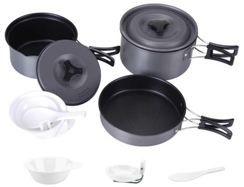 Набор посуды алюминиевый Fire-Maple FMC-201 на  2-3 человекаТуристический набор посуды на 2-3 персоны. Состоит из двух котелков с крышками, миски-сковородки, трех пластиковых чашек и двух ложек. Складывается по принципу матрешки.<br><br>Вес кг: 0.80000000