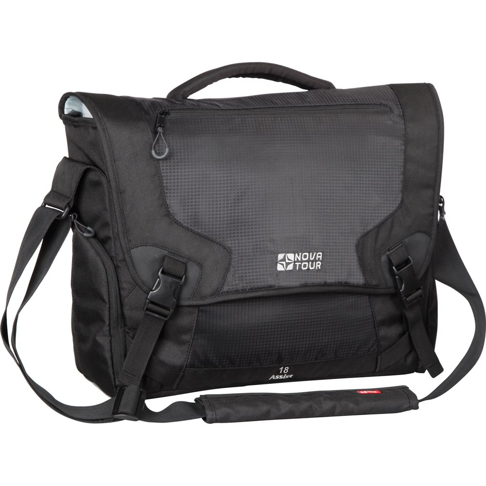 Сумка Nova Tour Ассист 18 черныйПрактичная сумка небольшого объема для деловых людей. Размеры сумки позволяют переносить даже большой ноутбук и большое количество документов. В сумке есть удобный карман с органайзером и объемные боковые карманы для мелочей. Удобство при транспортировке сумки во время путешествий обеспечивает приспособление для крепления на выдвижную ручку чемодана.<br><br>Вес кг: 0.80000000