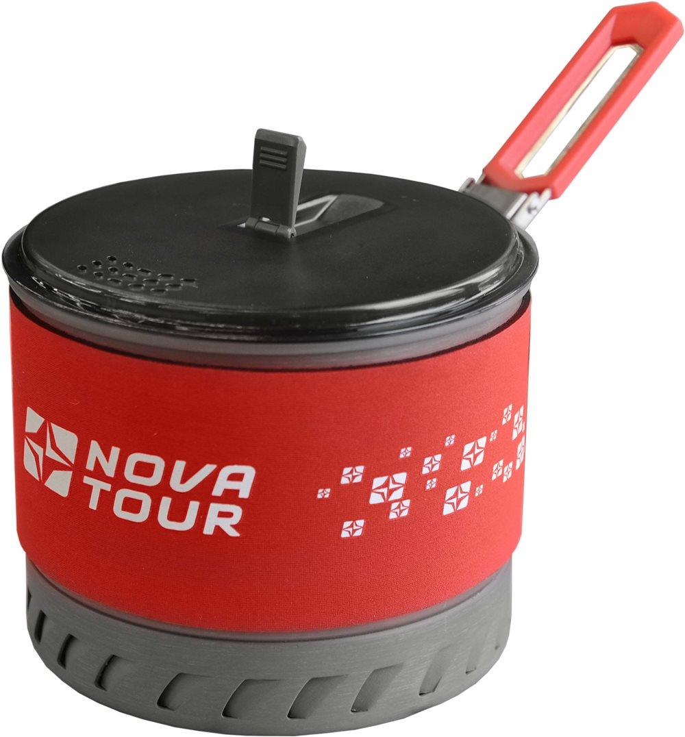 Кастрюля Nova Tour Инферно 1,4лУдобная кастрюля объемом 1,4л с радиаторным кольцом на дне, которое позволяет экономить до 50% топлива и уменьшить время приготовления пищи. Наличие складной ручки добавляет удобства при использовании, и не увеличивает объем занимаемый кастрюлей при траспортировки. Неопреновая вставка сохраняет тепло и добавляет удобства в эксплуатации. Готовить на костре нельзя, посуда Инферно предназначена только для горелок.<br><br>Вес кг: 0.40000000