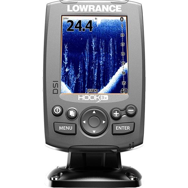 Эхолот Lowrance Hook-3x DSILowrance HOOK-3x DSI – эхолот, с проверенными временем функциями по отличной цене, без компромисса для качества рыбалки, ожидаемого от Lowrance. Компактный эхолот с функцией DownScan Imaging™ и трехдюймовым, цветным экраном, с высоким разрешением и LED-подсветкой, позволяет еще проще обнаруживать рыбу и места ее скопления. Встроенный сенсор, для измерения температуры воды и поддержка частот 455 и 800 кГц, позволяет выбрать частоту, оптимальную для текущих температурных условий воды.<br><br><br>Трехдюймовый цветной дисплей с LED-подсветкой, с разрешением 320х240, четкое отображение при прямом солнечном свете, широкий угол обзора.<br><br>DownScan Imaging™ вместе с работой на двух частотах, 455 или 800 кГц, помогает улучшить просмотр мест скопления рыбы, структуры и рельефа дна.<br><br>Запатентованный датчик DownScan Imaging™, может сканировать дно, не теряя с ним контакт, на скорости до 88,5 км/ч.<br><br>Кнопки меню позволяют пользователю быстро переключаться с одной частоты на другую.<br><br>Выделенные быстрые клавиши позволяют пользователю, увеличивать изображение до четырех раз и сосредоточиться на местах обитания рыбы.<br><br>Кнопка питания дублирует контроль подсветки, для настроек в дневное или ночное время рыбалки.<br><br>Быстросъемное наклонно-поворотное крепление позволяет легко менять угол обзора, при повороте прибора и также легко и быстро отсоединять его.<br><br>Меню на русском языке.<br>