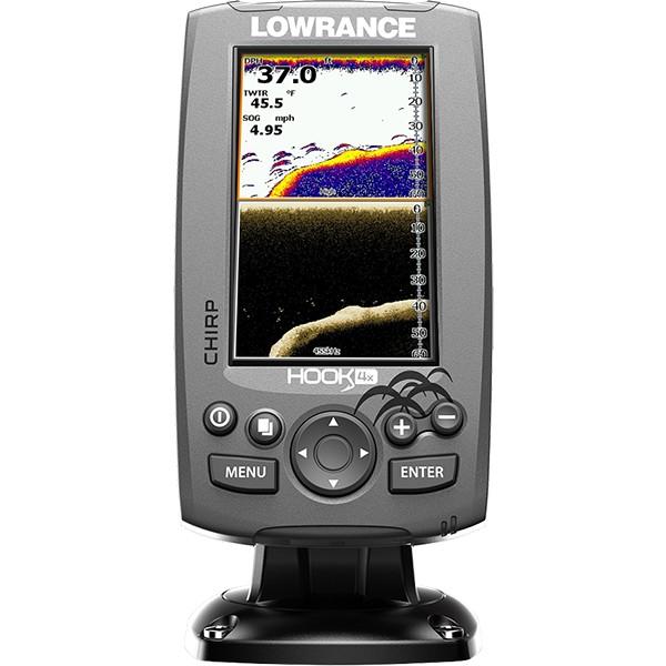Эхолот Lowrance Hook-4x Mid/High/DownScanLowrance HOOK-4x – эхолот, с проверенными функциями по отличной цене, без компромисса для качества рыбалки, ожидаемого от Lowrance. Комбинация технологий CHIRP Sonar и DownScan Imaging™ в эхолоте HOOK-4x, дает вам возможность более ясно и более полно оценить картину подводного пространства под вашей лодкой. Выведение изображения на четкий (480х272 пикселя) 4,3 дюймовый цветной дисплей в сочетании с высокой производительностью сонара повышенной чувствительности, превосходное разделение целей и улучшение подавления шумов, делает простым обнаружение мест скопления и прикормки рыбы.<br><br><br>Четкий, 4,3 дюймовый цветной экран, с высоким разрешением (480х272 пикселя), изготовленный по эксклюзивной технологии Lowrance.<br><br>Комбинация CHIRP Sonar и DownScan Imaging™ одна из передовых технологий эхолота, обеспечивает наилучший обзор под вашей лодкой.<br><br>DownScan Overlay™ - технология наложения изображения DownScan Imaging на CHIRP Sonar<br><br>Advanced Signal Processing (ASP), уменьшает необходимость ручных настроек для более четкого отображения рыбы, мест ее скопления, структуры и рельефа дна.<br><br>Функция TrackBack™ дает возможность просмотра записей в истории показаний эхолота.<br><br>Возможность сканирования одним датчиком в нескольких диапазонах, по технологии CHIRP.<br><br>Более высокая производительность сонара CHIRP с большим количеством доступных датчиков, в том числе Lowrance HDI Skimmer®.<br><br>Просмотр многочисленных настроек сонара CHIRP на экране.<br><br>Удобное меню выбора страницы, быстрый доступ ко всем функциям с помощью нажатия одним прикосновением.<br><br>Функция открытия нескольких окон на экране позволяет вам быстро выбирать из предустановленных макетов страниц.<br><br>Меню на русском языке.<br>