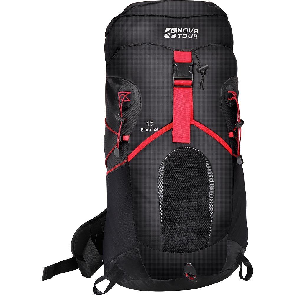 Рюкзак Nova Tour Блэк Айс 45 черныйВас приятно удивит инновационная система утяжки объема этого современного стильного рюкзака из легкой нейлоновой ткани. Максимально комфортную вентиляцию гарантирует подвесная система Air Flow, обеспечивающая пространство между рюкзаком и спиной. Необходимые в переходах вещи легко укладываются в эластичный карман на фасаде рюкзака. Если захотелось попить, это можно сделать не остановливаясь, ведь в рюкзаке нашлось отделение и для питьевой системы. Любителей ходить с треккинговыми палками несомненно порадует наличие крепления для этого инвентаря. На концах боковых стяжек имеются липучки для закрепления излишков стропы.<br><br>Вес кг: 1.60000000