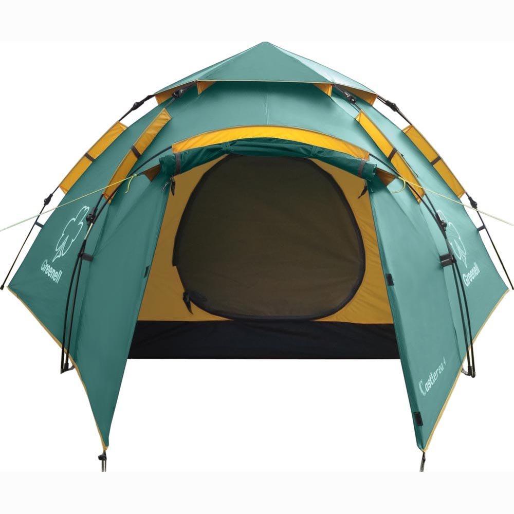 Палатка Greenell Каслрей 4 трекинговаяКемпинговая палатка с полуавтоматическим каркасом. Низкая, всего 120 см в высоту, палатка, которая ставится очень быстро, порядка не больше минуты. Имеет большой, просторный тамбур, в котором можно разместить кое – какие необходимые вещи. Q - образный вход дублируется москитной сеткой и тем не менее с легкостью открывается одной рукой. Проклеенные швы обеспечивают надежность и долговечность палатки. Улучшенная сквозная вентиляция всегда обеспечит достаточный комфорт внутри. Палатка обеспечена оттяжками со светоотражающей нити, которые облегчают обнаружение их в сумерках. Данный вариант палатки отлично подойдет для отдыха большой компании в походах, на озере, в путешествиях.<br><br>Двухслойная палатка с дополнительной дугой для тамбура. Установка за 1 минуту. Один тамбур и два входа. Внутренняя палатка и тент устанавливаются одновременно. Легко ставиться одним человеком. Минимум времени для установки и сборки. Q-образный вход продублирован сеткой. Улучшенная сквозная вентиляция. Проклеенные швы. Облегченная регулировка оттяжек со световозвращающей нитью.<br><br>Вес кг: 5.65000000