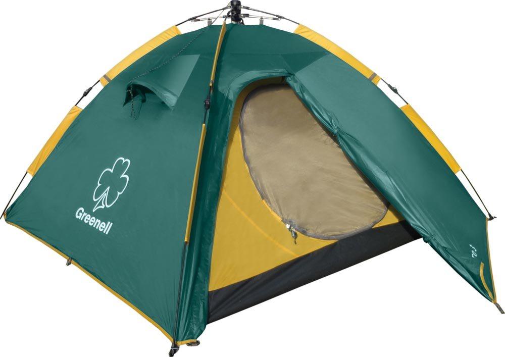 Палатка Greenell Клер 3 V2Автоматическая палатка Клер 3 весит всего 4 кг, что достаточно мало для автоматической 3х местной палатки, и потому ее без труда можно использовать в пеших походах. При этом Клер 3 очень просто и быстро устанавливается даже под дождем, что, несомненно, порадует зазевавшегося рыбака или застигнутого врасплох непогодой туриста. Такое преимущество Вы оцените по достоинству во время похода выходного дня, пикника - пока все вокруг начнут заниматься установкой палаток, Вы уже будете уверенно дегустировать-уничтожать провиант! В отличие от палатки Дингл, тамбур у которой больше, палатка Клер 3 более ориентирована в сторону достижения минимального веса. Подходит для пикника, отдыха у реки или моря, для походов выходного дня и несложных пеших походов.<br><br>Вес кг: 3.95000000