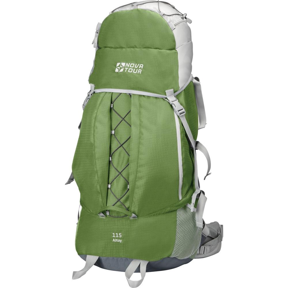 Рюкзак Nova Tour Алтай 115 серый/зеленыйПрактичный экспедиционный рюкзак. Два объемных кармана на фронтальной стороне, большое количество приспособлений для внешней навески. Пояс с карманами<br><br>Вес кг: 2.80000000