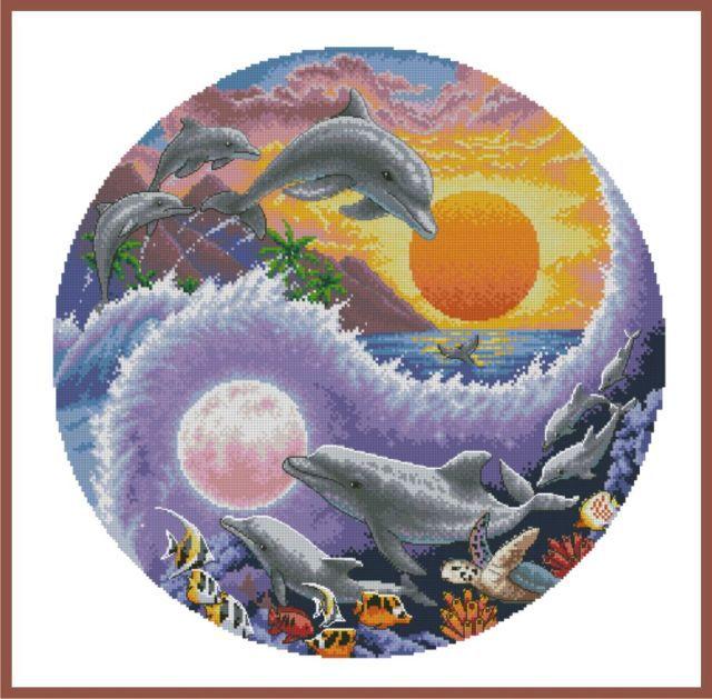 Dimensions Sun and Moon Dolphins (Солнечный и лунный дельфины).35140 СШАНабор для вышивания Dimensions 35140 Sun and Moon Dolphins (Солнечный и лунный дельфины)<br>