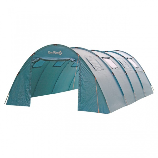 Палатка RedFox Team Fox LightБольшая палатка для базовых лагерей и различных мероприятий. 2 входа. Несколько закрывающихся вентиляционных окон. Комплектуется Ground Sheet необходимого размера (6х4 м). Все швы проклеены. В модели применяются стойки DAC. Тент изготовлен из полиэстера 190Т, имеет защиту от влаги 3000 мм водного столба. Дно сделано из PE 120G, высокая прочность, защита от внешних воздействий гарантирована. Стойки из алюминия 7001-Т6, диаметр 19 мм делает палатку устойчивой к ветру. Модель имеет два входа, закрывающиеся вентиляционные окна. Все швы герметично проклеены.<br><br>Вес кг: 13.10000000