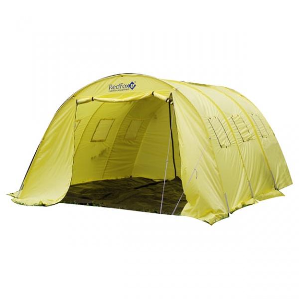 Палатка RedFox Team Fox 2Большая палатка для базовых лагерей и различных мероприятий. Оборудована системой подвески жилого модуля. Стойки DAC. Карманы на тенте для стоек. Высококачественный алюминиевый каркас повышенной прочности. Штормовые оттяжки. 2 входа на молнии. Высота палатки позволяет встать в полный рост. Вентиляционные окна, закрытые сеткой. Увеличенный полезный объем палатки за счет вертикальных стенок. Съемный пол Ground Sheet (4.5*4 м) по периметру палатки<br>