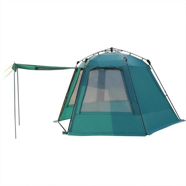 Тент-шатер Greenell ГрейнджТент-шатер Greenell Грейндж оснащен полуавтоматическим каркасом, телескопическими дугами для быстрой установки, двумя входами. Все стенки продублированы москитной сеткой. Имеются дополнительные стойки, которые позволяют сделать навес от солнца. Предусмотрена облегченная регулировка оттяжек, сами оттяжки со световозвращающей нитью.<br><br>Вес кг: 11.70000000