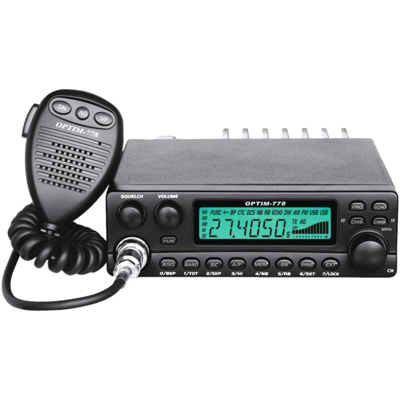 """Радиостанция Optim 778 автомобильнаяРадиостанция OPTIM-778 предназначена для осуществления двустороннего радиообмена в диапазоне частот 27 МГц (Гражданский диапазон, Си-Би,CB) с частотной или амплитудной модуляцией. Радиостанция предназначена для эксплуатации, как в автомобиле, так и в качестве базовой радиостанции.<br><br>Высокая выходная мощность передатчика для увеличения радиуса действия.<br>Наличие автоматического спектрального и ручного порогового шумоподавителей, незаменимых, при эксплуатации в городе и открытой местности.<br>Клавиши быстрого перехода в """"общий вызывной автоканал"""" и """"канал вызова экстренной помощи"""".<br>Режим эффекта """"ЭХО"""" при передаче.<br>8 энергонезависимых каналов памяти.<br>Защита от подключения к источнику питания обратной полярности.<br>Режимы сканирования, как по каналам памяти, так и в пределах сетки с возможностью создания листа сканирования.<br><br>Вес кг: 1.20000000"""