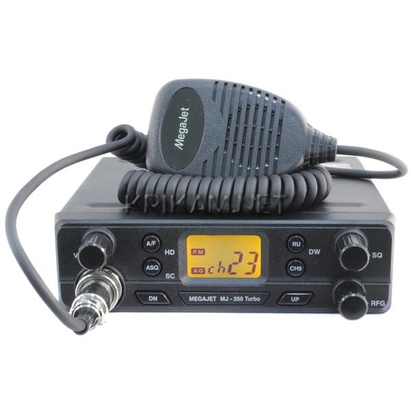 Радиостанция Megajet MJ-350 Turbo автомобильнаяMegaJet MJ-350 Turbo - уже известная MJ-350, но отличающейся повышенной до 20 Ватт мощностью! Автоматический шумодав ASQ совместно с регулировкой чувствительности приёмника позволит эффективно подстроиться к помеховой обстановке, присутствует отдельная кнопка переключения режимов 0/5, активации режима Dual Watch. Частотный диапазон работы составляет от 26,515 до 28,305 МГц, он разделён на 4 сетки: C, D, E, F.<br>