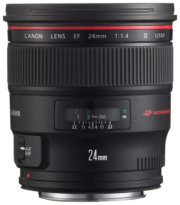 Объектив Canon EF 24mm f/1.4L II USMCanon EF 24mm f/1.4L II USM широкоугольный объектив с постоянным ФР, крепление Canon EF и EF-S, автоматическая фокусировка, минимальное расстояние фокусировки 0.25 м, размеры (DхL): 93.5x86.9 мм, вес: 650 г<br><br>Вес кг: 0.70000000