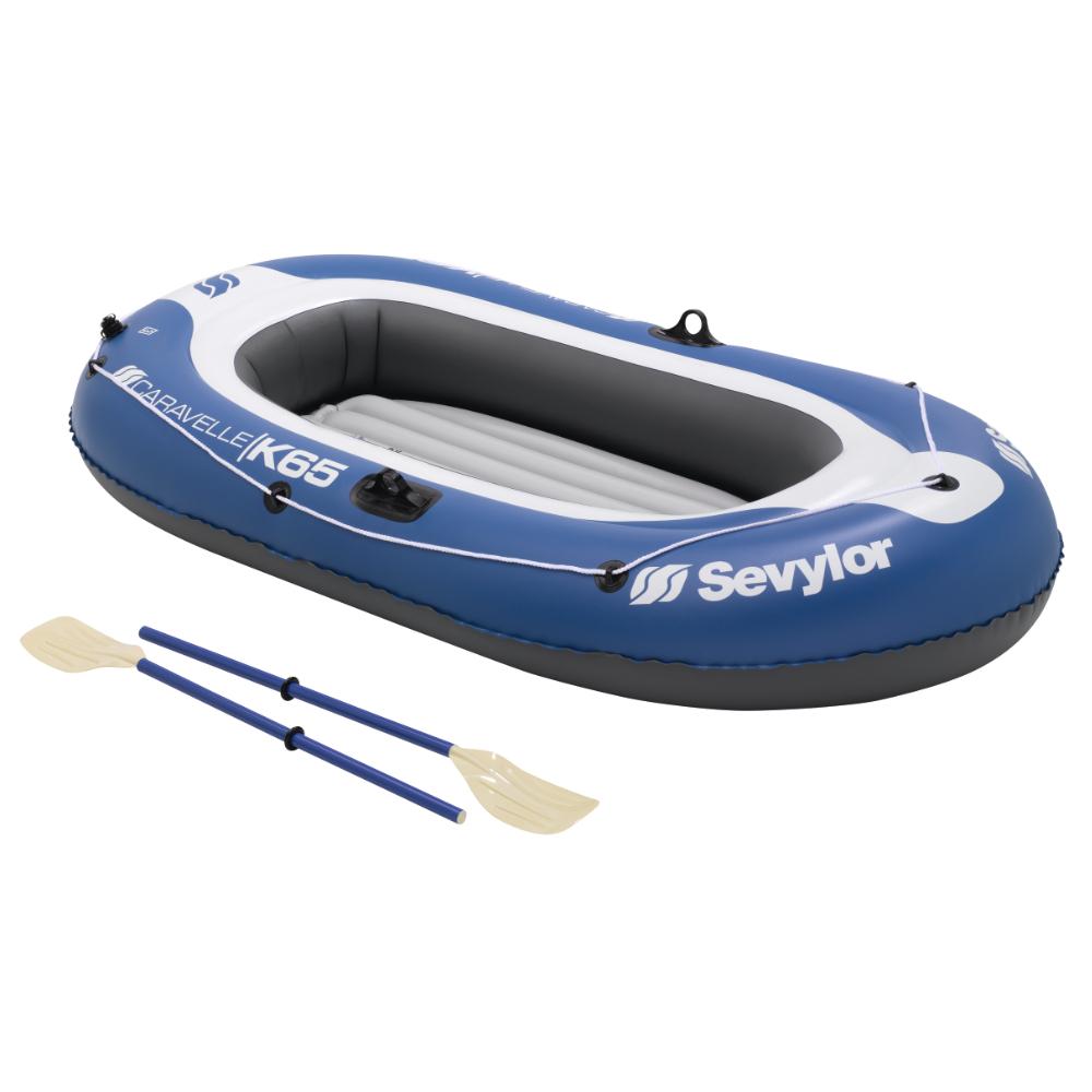 Лодка надувная Sevylor Kk65 Caravelle весла+насос+сумка в комплектеНадувная 2-я местная лодка. Вместимость 165 кг. С надувным полом, 2 камеры. Насос и весла в комплекте. Размер в надутом состоянии: 228 x 120 см. Вес: 4,2 кг.<br><br>Вес кг: 4.20000000
