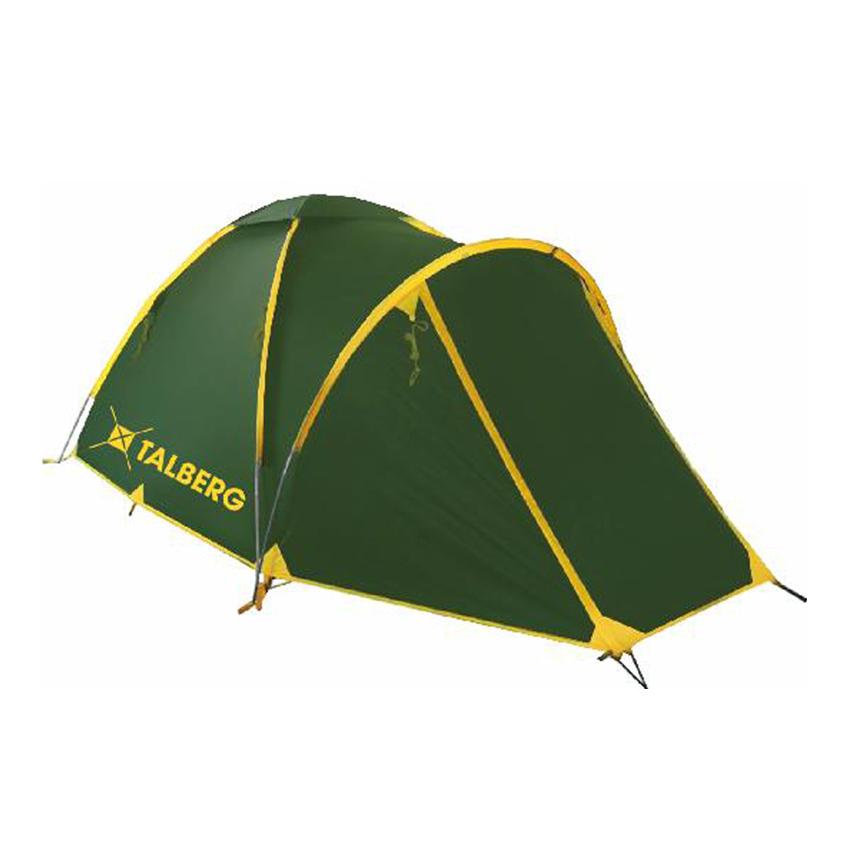 Палатка Talberg Bonzer 3Легкая двухслойная трехместная палатка с вместительным тамбуром для вещей и внешним каркасом для быстрой и легкой установки. Туристическая линия Talberg. Палатки Talberg Туристической линии были специально разработаны для походов в весеннее, летнее и осеннее время. В палатках этой серии используются материалы и конструкции, которые позволяют комфортно провести теплую летнюю ночь или переждать серьезную непогоду с сильным ветром и осадками.<br><br><br>Оптимальная комбинация материалов по соотношению вес-прочность-надежность.<br><br>Использование полиэстера позволяет сделать тент палатки прочным, легким, непроницаемым для ветра и не впитывающим влагу.<br><br>Высококачественные дуги из фибергласа не имеют остаточных деформаций и в состоянии выдержать сильные ветры и непогоду.<br><br>Два входа обеспечивают превосходную вентиляцию и комфортный сон в теплое время года.<br><br>Палатка оборудована высококачественной противомоскитной сеткой, способной защитить даже от самой мелкой мошки.<br><br>Все швы палатки проклеены специальной термоусадочной лентой, которая надежно защищает палатку от протеканий.<br><br>Внутри палатки предусмотрены карманы для мелочей и полка под потолком для фонарика или каких-либо вещей.<br><br>Ремнабор в комплекте.<br><br>Вес кг: 4.00000000