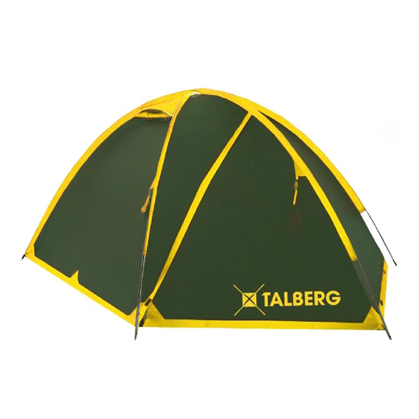 Палатка Talberg Space 3Двухслойная трехместная палатка с двумя объемными тамбурами для вещей и внешним каркасом для быстрой и легкой установки. Туристическая линия Talberg. Палатки Talberg Туристической линии были специально разработаны для походов в весеннее, летнее и осеннее время. В палатках этой серии используются материалы и конструкции, которые позволяют комфортно провести теплую летнюю ночь или переждать серьезную непогоду с сильным ветром и осадками.<br><br>Оптимальная комбинация материалов по соотношению вес-прочность-надежность.<br>Использование полиэстера позволяет сделать тент палатки прочным, легким, непроницаемым для ветра и не впитывающим влагу.<br>Высококачественные дуги из фибергласа не имеют остаточных деформаций и в состоянии выдержать сильные ветры и непогоду.<br>Два входа обеспечивают превосходную вентиляцию и комфортный сон в теплое время года.<br>Палатка оборудована высококачественной противомоскитной сеткой, способной защитить даже от самой мелкой мошки.<br>Все швы палатки проклеены специальной термоусадочной лентой, которая надежно защищает палатку от протеканий.<br>Внутри палатки предусмотрены карманы для мелочей и полка под потолком для фонарика или каких-либо вещей.<br>Ремнабор в комплекте.<br><br>Вес кг: 4.40000000