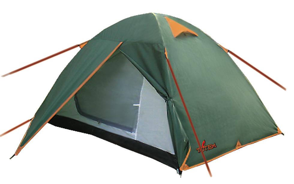 """Палатка Totem Tepee трекинговаяПалатка Totem Tepee 2 - классическая модель с небольшим тамбуром, в которой производитель использовал бюджетные матералы, чтобы уменьшить стоимость. Палатка выдерживает легкую непогоду, а светлый тент меньше нагревается в жару. Легкая сборка - внутренняя палатка ставится на дуги при помощи системы клипс, после чего растягивается тент. В отличие от палаток Tramp, тент и внутренняя палатка крепятся при помощи штырьков, вставленных в дуги. Отличная вентиляция, возможна установка без оттяжек. Идеальна для несложных летних походов.<br><br>Конструкция - обтекаемая """"полусфера"""", легкая в установке на любой местности и неприхотливая в эксплуатации. Вход с небольшим тамбуром. С комфортом вмещает два человека, но, при необходимости, можно разместить троих.<br><br>Тент – водонепроницаемый, устойчивый к растяжению, с двумя складными вентиляционными окнами. Обработан составом для поглощения UF лучей и пропиткой, предотвращающей распространение огня. Оборудован растяжками с вплетением светоотражающей нити и проклеенными швами.<br><br>Внутренняя палатка – 100% дышащий полиэстер, два больших вентиляционных окна, удобные, вместительные карманы. Входы D-образные, на качественных двухзамковых молниях с возможностью открывания в одно касание даже с занятыми руками. Оба входа продублированы москитной сеткой.<br><br>Дно – устойчивый к истиранию и механическим повреждениям терпаулинг, загибается по краям вверх для большей влагоустойчивости.<br><br>Каркас – Максимально простая конструкция из двух перекрещивающихся фиберглассовых дуг.<br><br>Комплект – тент, внутренняя палатка, комплект дуг, комплект колышков, сумка-переноска с ручками.<br><br>Вес кг: 3.20000000"""
